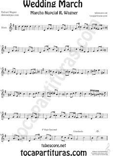 Trompa y Corno Francés Partitura de La Marcha Nupcial de Wagner en Mi bemol Sheet Music for French Horn Music Scores