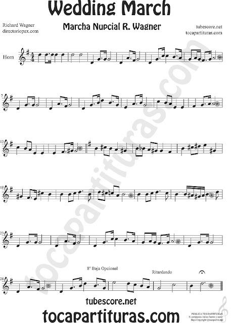 Trompa y Corno Francés Partitura de La Marcha Nupcial de Wagner en Mi bemol Sheet Music for French Horn