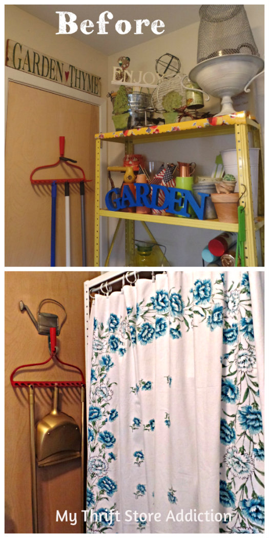 Storage shelves with tablecloth curtain