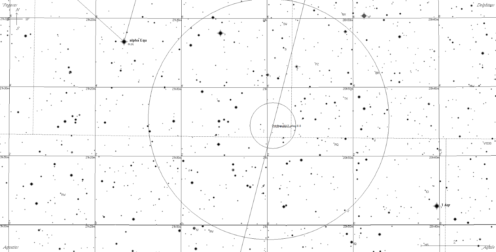 Printable black and white chart suitable for telescope showing the track of 3122 florence from the 1st tthe large circle is the field of view of 10x50