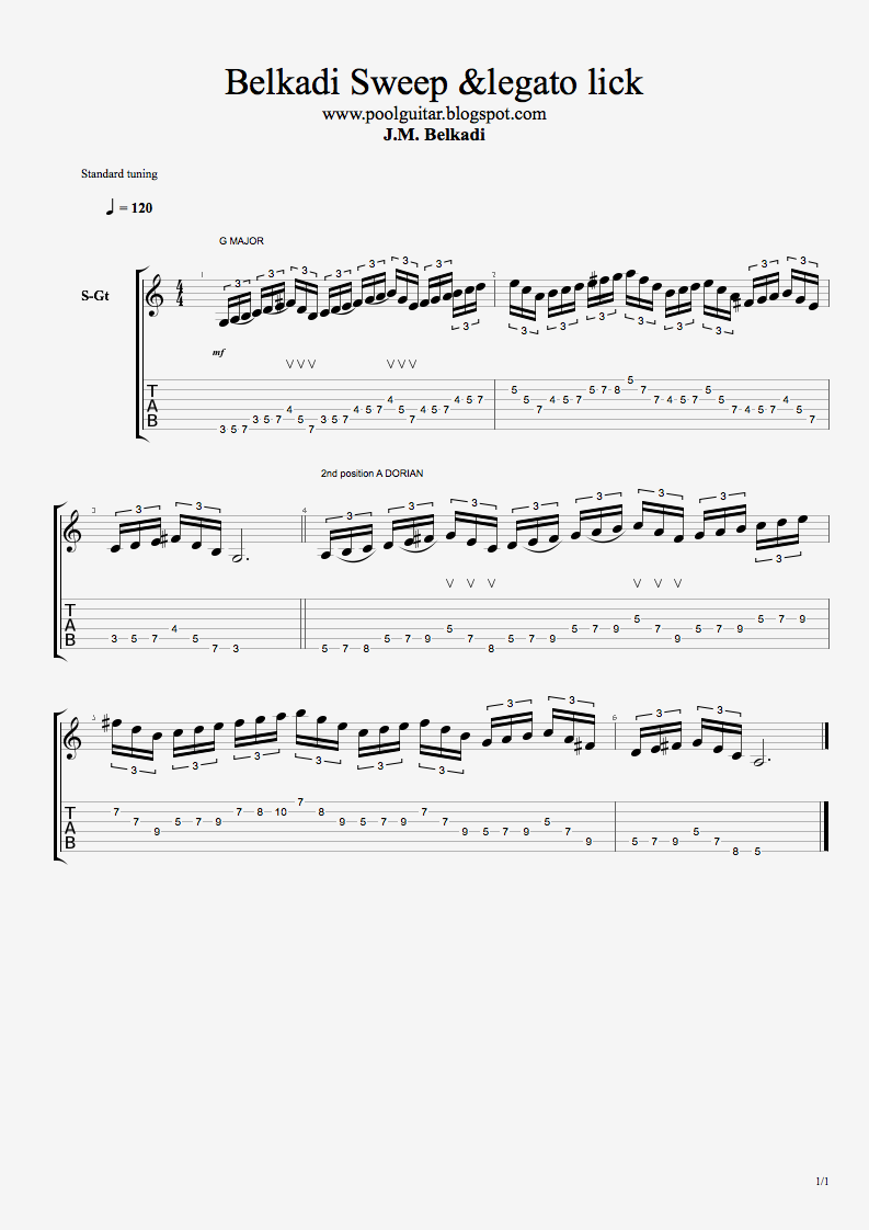 Quick Licks Legato and Sweep exercise