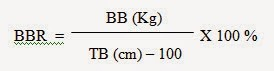 rumus Percentage of Relative Body Weight (BBR = berat badan normal)
