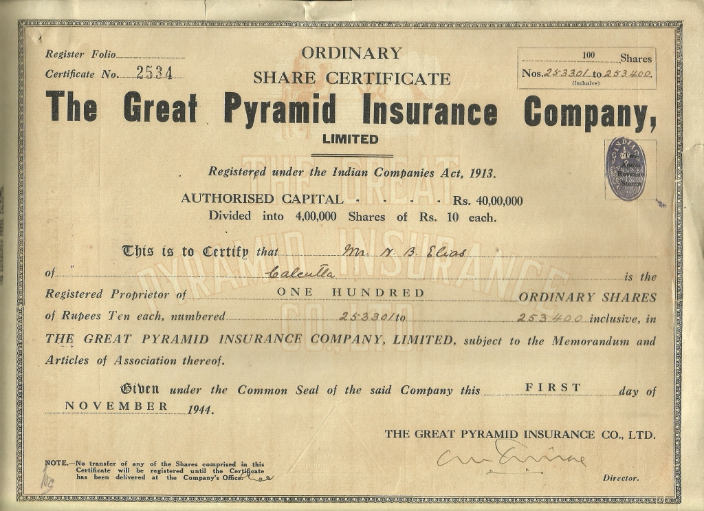 Collections of Dokka Srinivasu The Great Pyramid Insurance Company - Company Share Certificates
