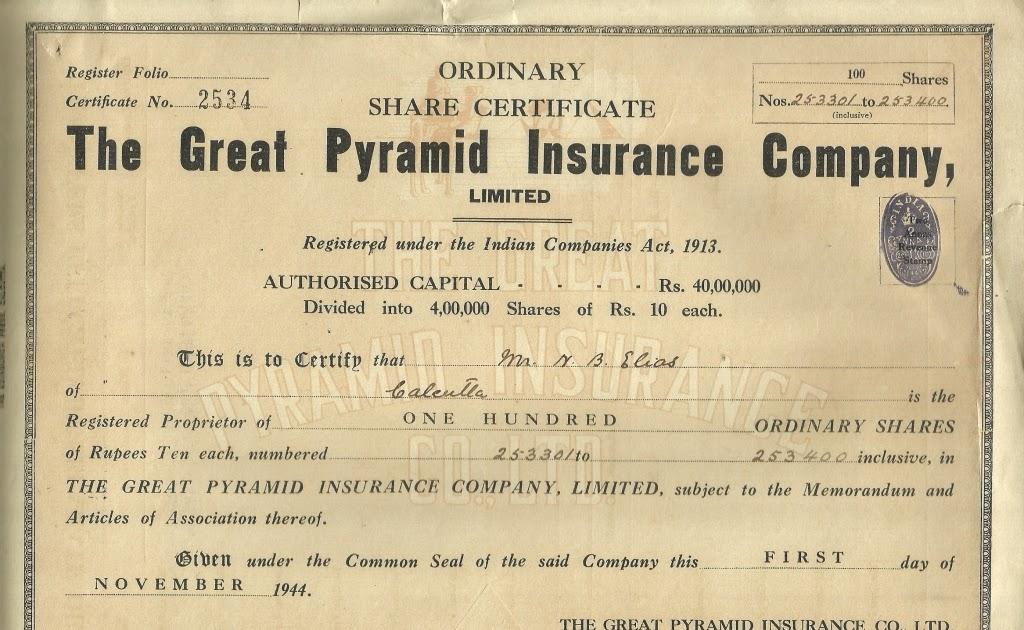 Collections of Dokka Srinivasu The Great Pyramid Insurance Company - Company Share Certificates