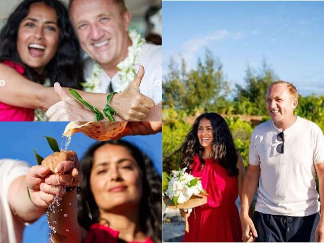 سلمي حايك تقيم زفاف في عيد جوازها ومرتدية فستان احمر