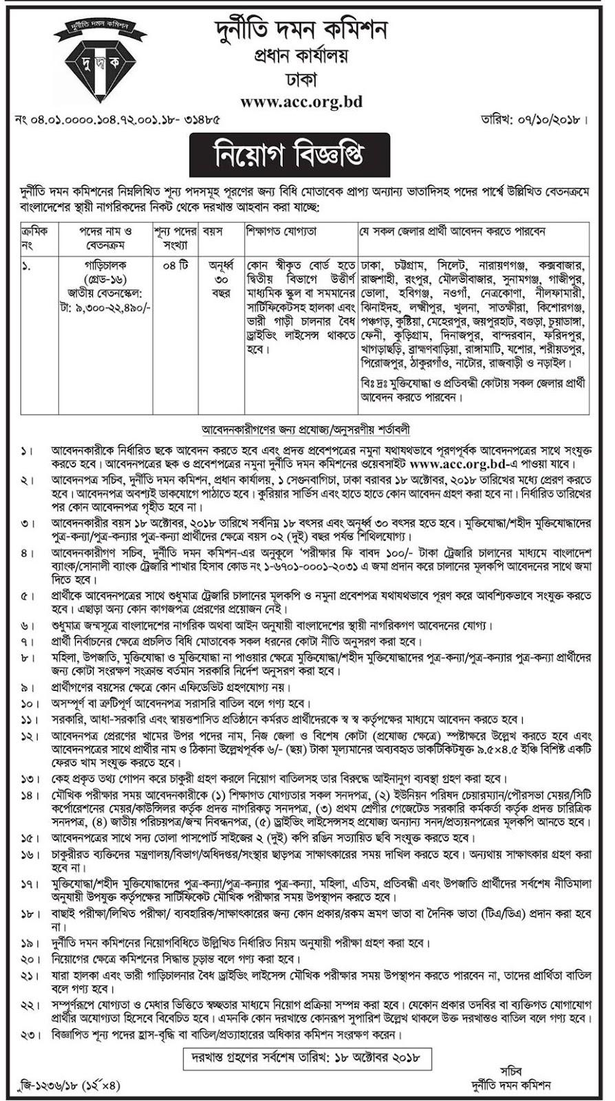 Anti-Corruption Commission (ACC) Driver Job Circular 2018