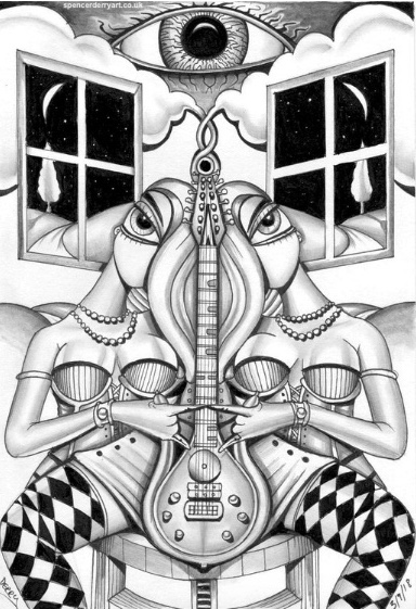 Two scantly clad twins holding a electric guitar in a suggestive manner in a surreal landscape.