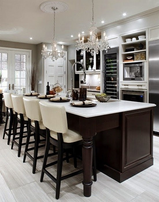 Dark Cabinets & Light Granite with a Rustic Glam Dining Area
