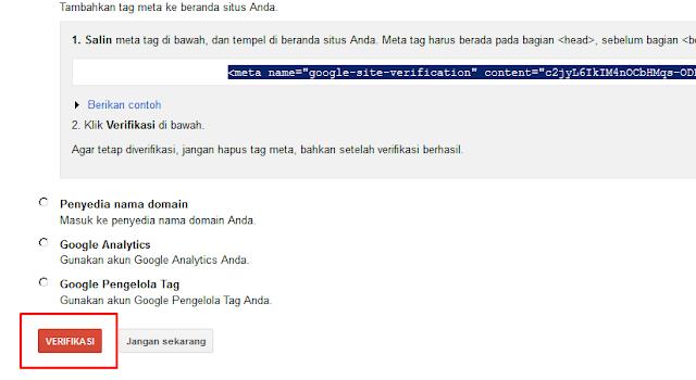 Cara Mudah Verifikasi Blog di Google Webmaster