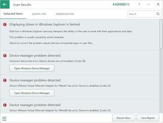 Scan Results - Kaspersky System Checker