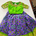 Purple Ikkat Lehenga Green Blouse