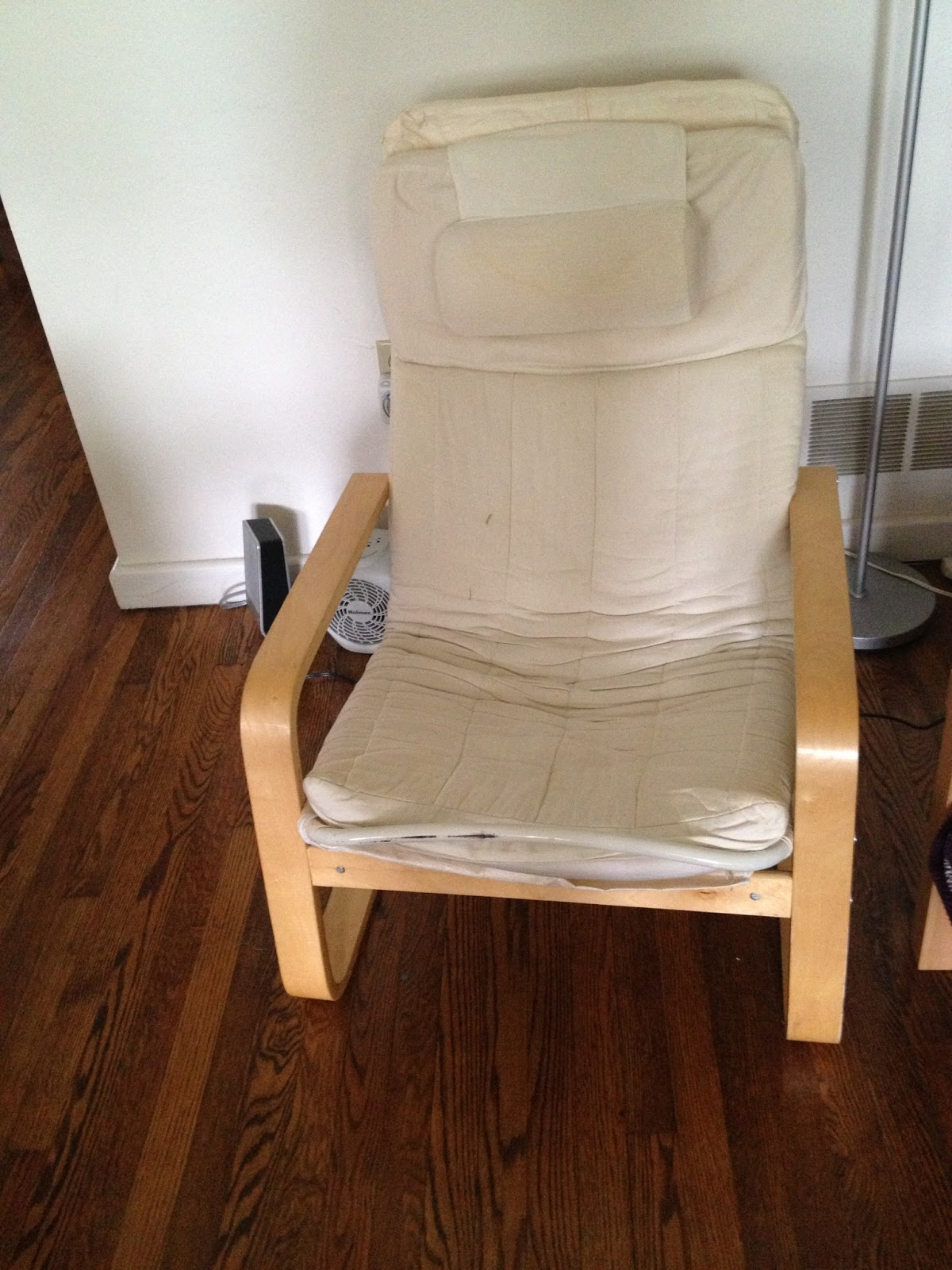 old ikea chair covers wedding rental diy hack poang cover my first step was to assess the size of karlstad and see how it would fit around on left is right