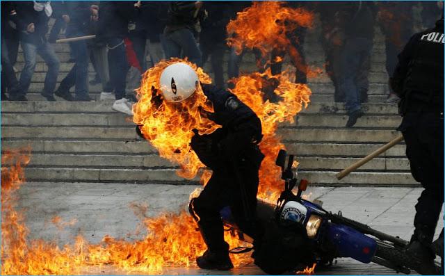 molotov contra militares guardia policias