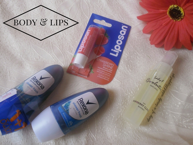 Liposan Strawberry Shine /  Lady-f Revolution Burberry Classic / Rexona Shower Fresh Roll-On Deodorant