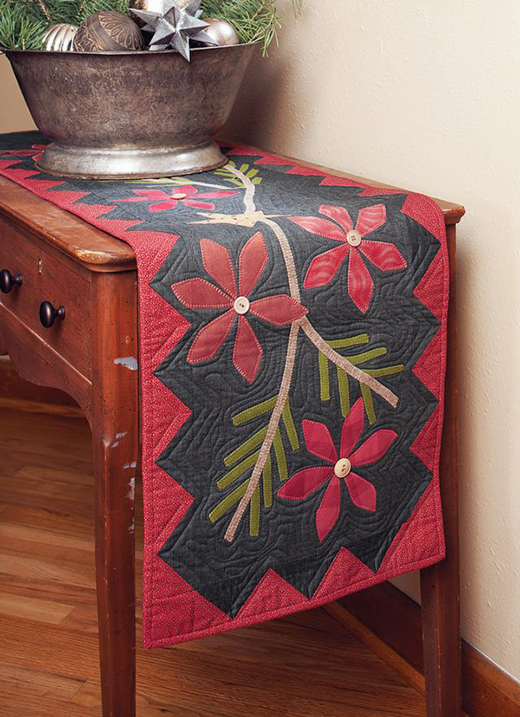 Poinsettia and Pine Table Runner Free Pattern