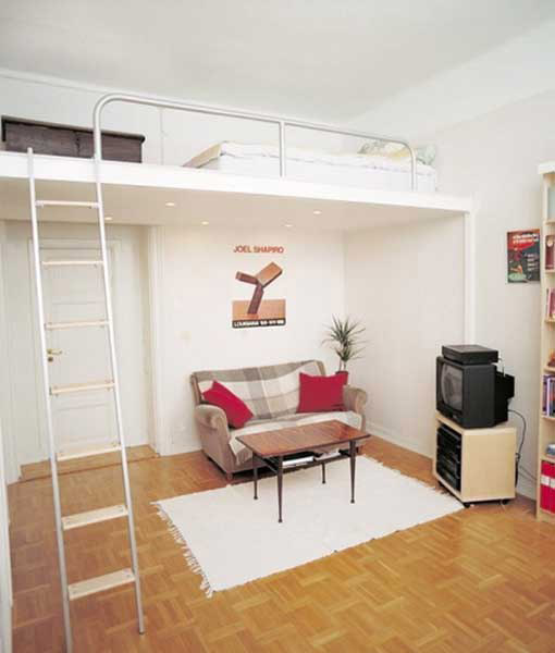 Cute ideas for decorating small bedrooms or studio type - Space saving bunk beds for small rooms ...
