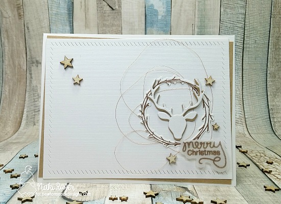 Merry Christmas Wreath and Stag Card by Naki Rager | Happy Little Thoughts Stamp set and Splendid Stag Die set by Newton's Nook Designs #newtonsnook