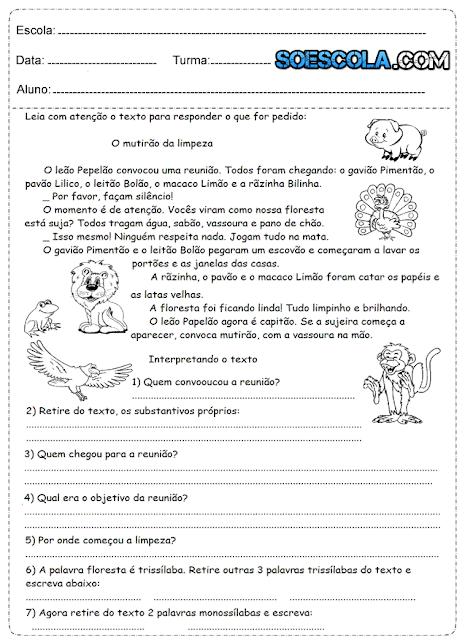 Atividades de interpretação de texto 4° ano