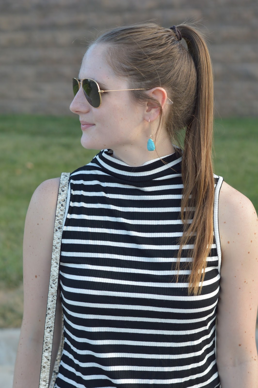 mock neck tank top from the nordstrom anniversary sale | how to wear a mock neck tan top | black and white stripes | turquoise earrings |