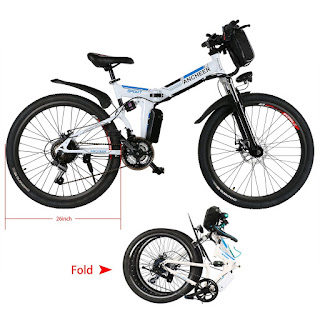 Ancheer Folding Electric Mountain Bike with Full Suspension, image, review features & specifications plus compare with Power Plus e-bikes