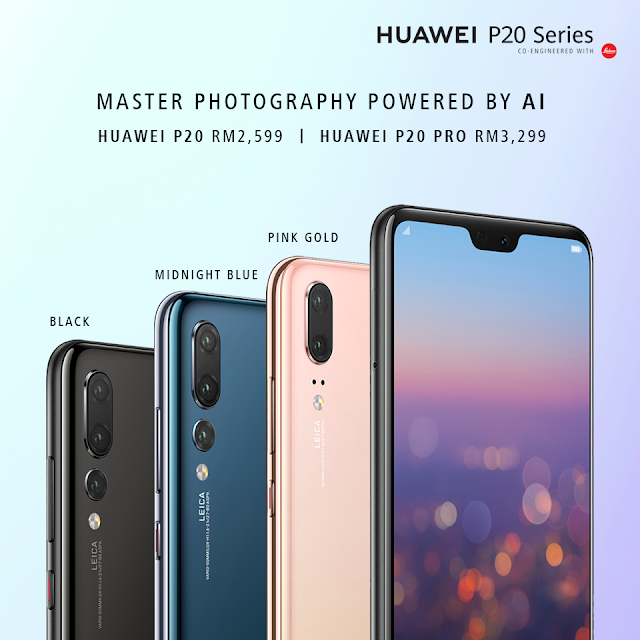 Huawei P20 series avaibale in three colors currently - Black, Midnight Blue and Pink Gold Price of Huawei P20 in Malaysia - RM2599 and RM3299 respectively