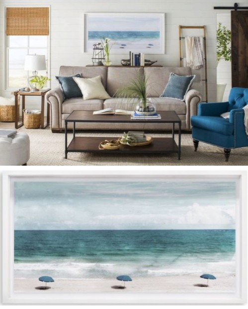 Framed Blue Ocean Beach Photo Art