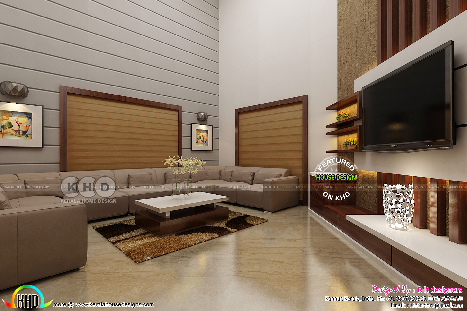 Dining area and living interior designs  Kerala home design and floor plans