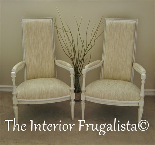 Vintage High Back Throne Arm Chairs After