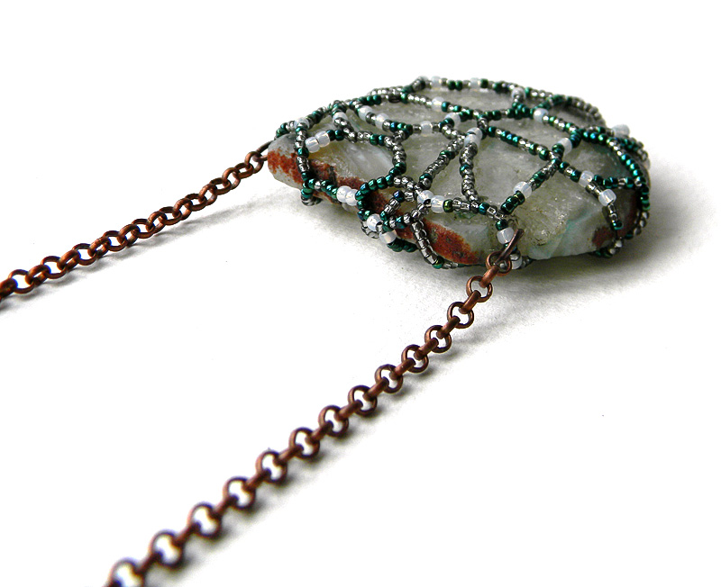 Agate pendant - OOAK agate necklace - Boho jewelry - freeform beadwork