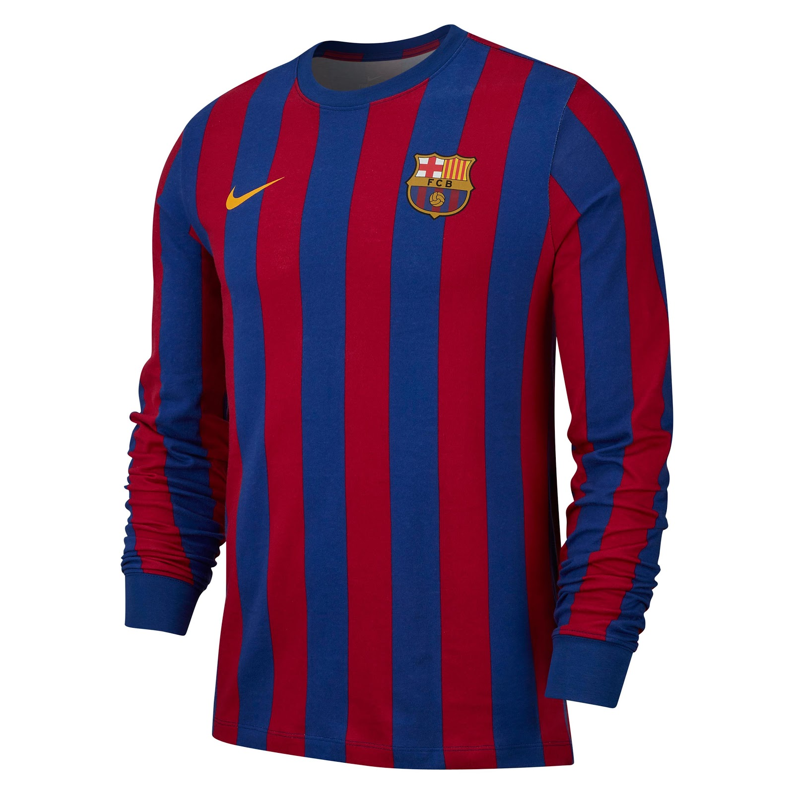 77a5b9535d8f Classy Nike FC Barcelona 2019 LS Retro Shirt Released - Footy ...