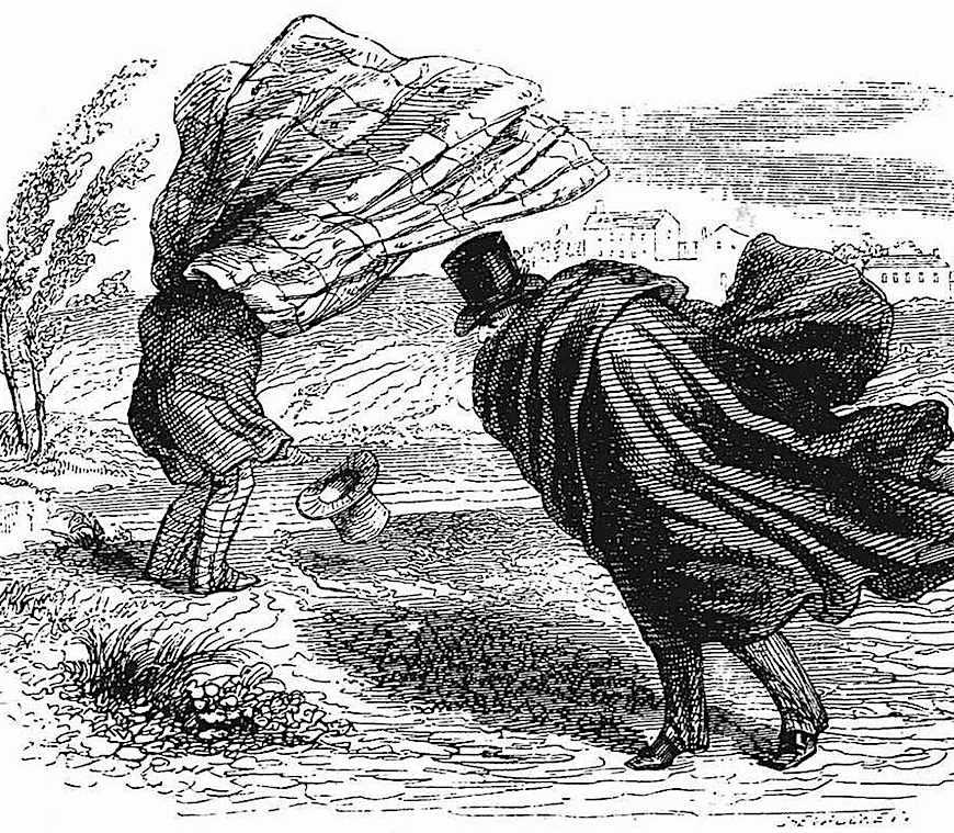 J.J. Grandville cartoon about wind