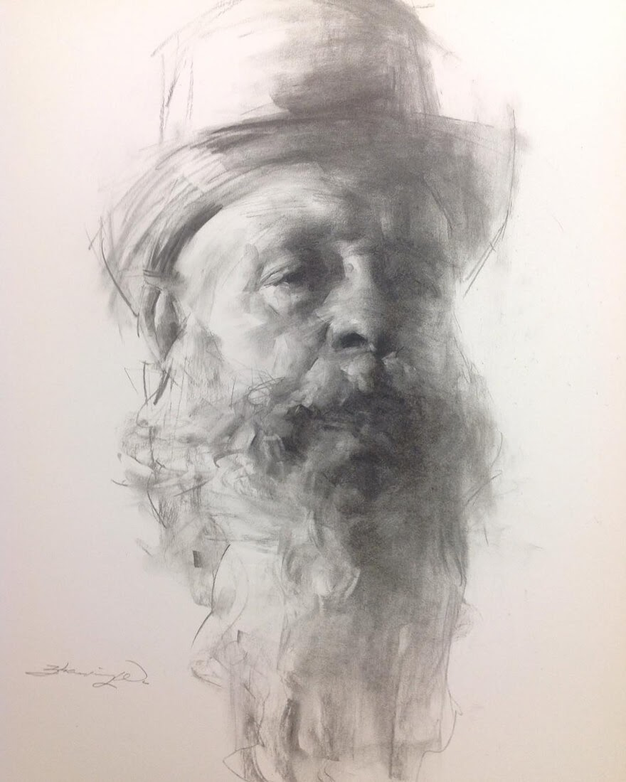 06-John-Carracci-Zhaoming-Wu-Black-and-White-Charcoal-Portraits-www-designstack-co
