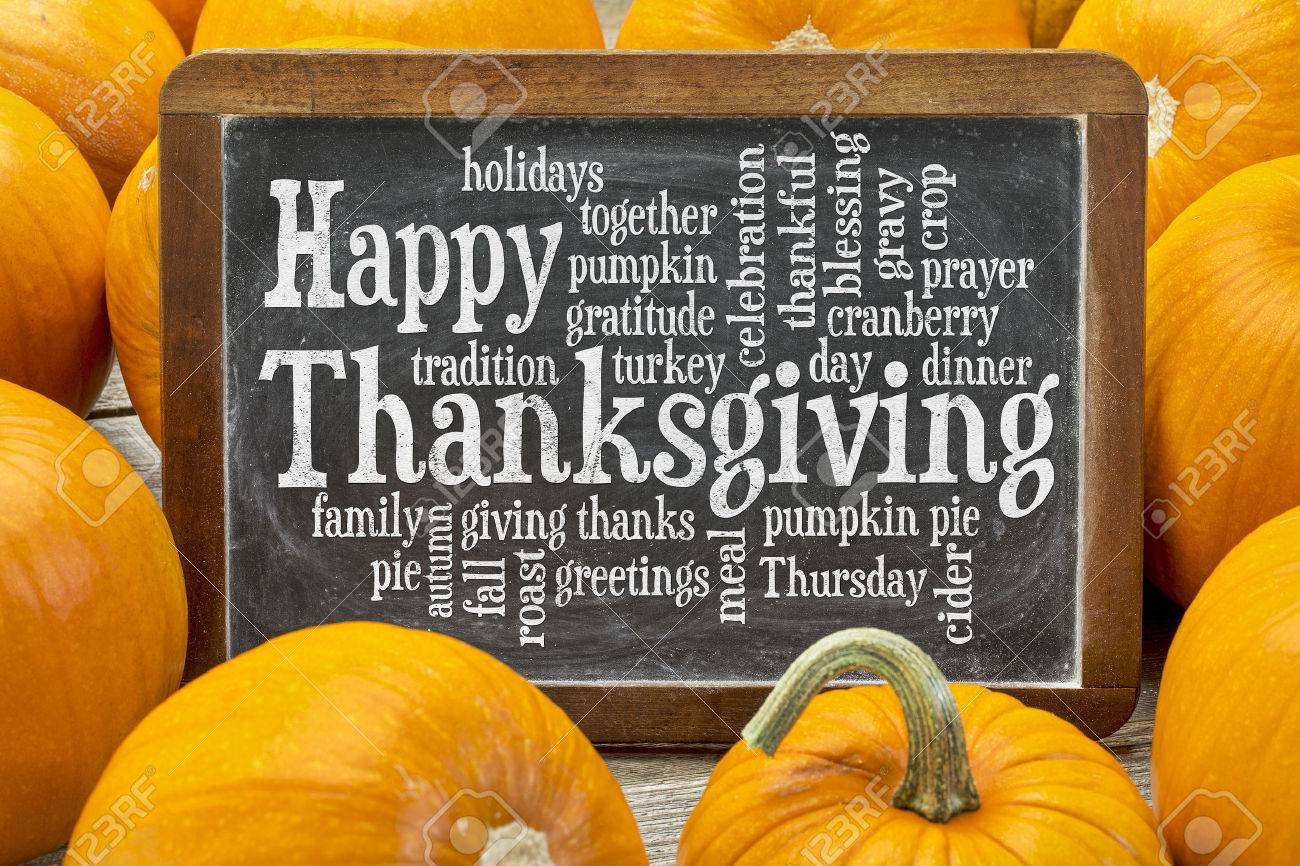happy-thanksgiving-word-cloud-on-a-vintage-slate-blackboard-surrounded-by-pumpkins
