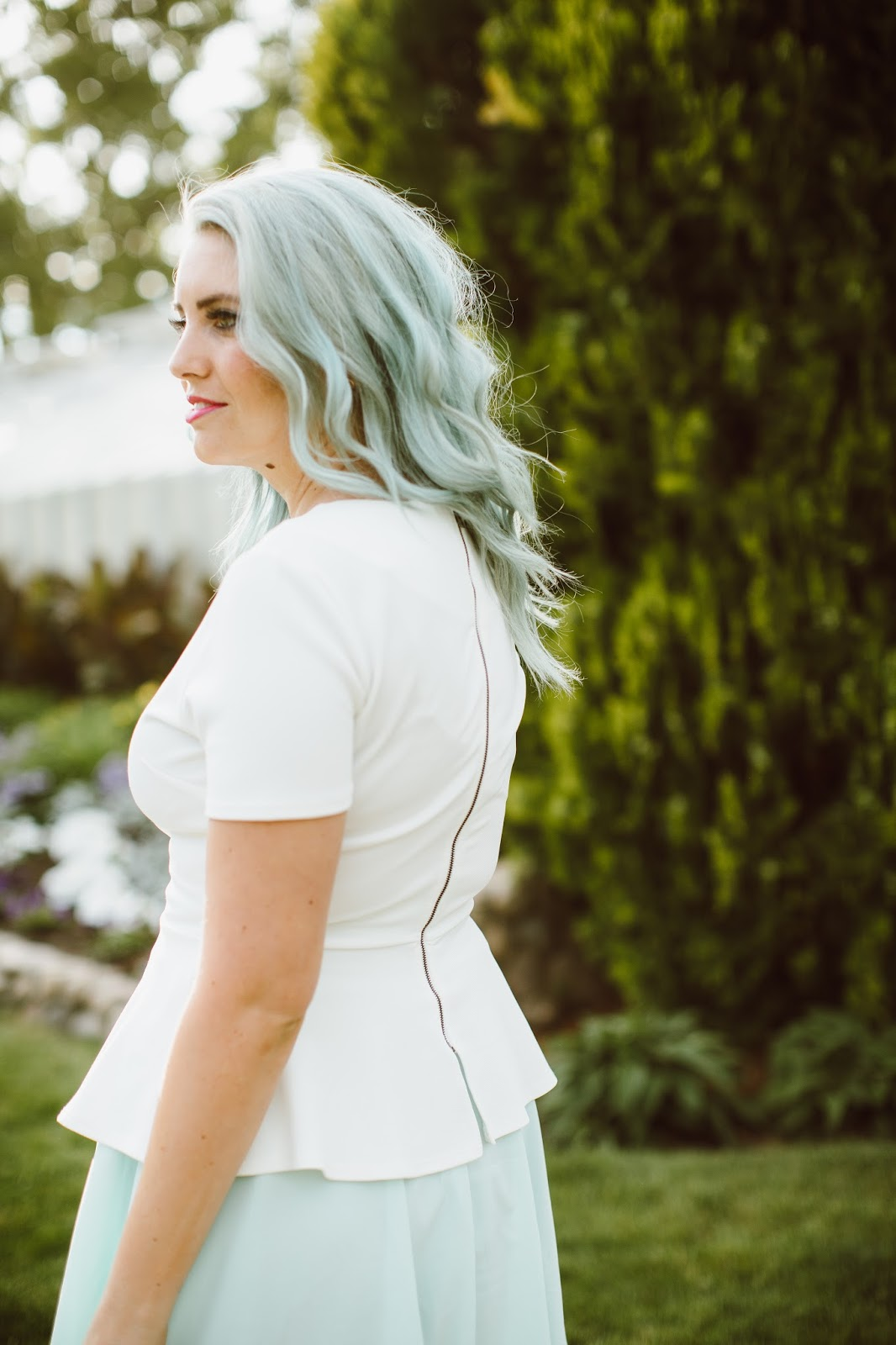 Mint Hair, Blue Hair, Zipper Back Shirt