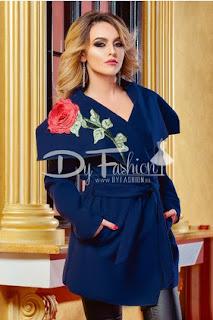 Palton ieftin scurt de dama de iarna bleumarin cu guler mare
