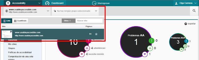 Cabecera de la aplicación. Hay dos grandes desplegables, el de 'mis sitios' está abierto. La información del sitio es: foto, nombre y número de páginas.