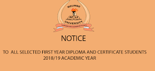 MZUMBE UNIVERSITY: SELECTED FIRST YEAR FOR DIPLOMA AND CERTIFICATE STUDENTS 2018/2019 ACADEMIC YEAR.