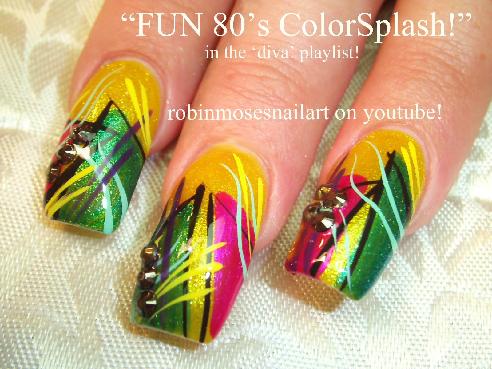 Nail Art by Robin Moses: Azature Canary, Long Nail Art, 80\'s nail ...