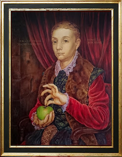 Boy with Apple painting copied from The Grand Budapest Hotel by Robin Springett