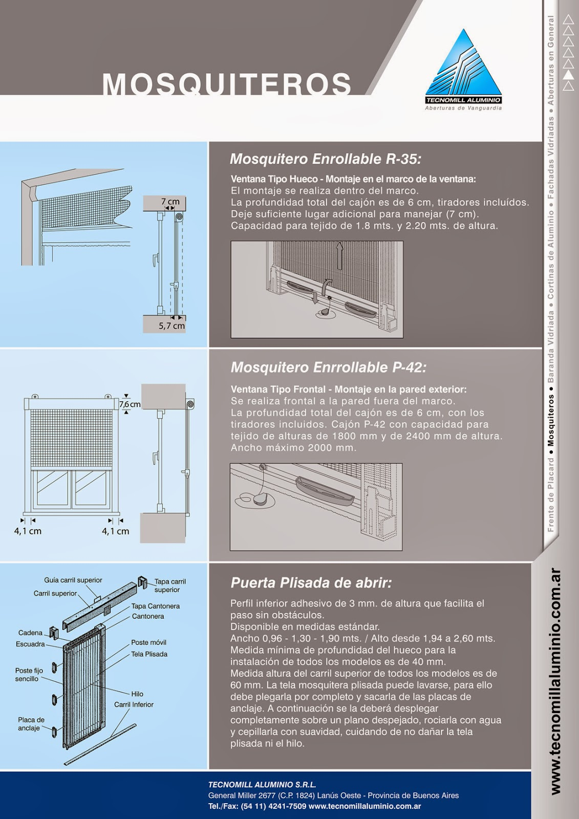 diseño de folletos para tecnomill aluminio