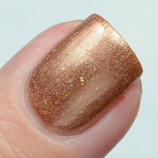 golden brown holographic nail polish