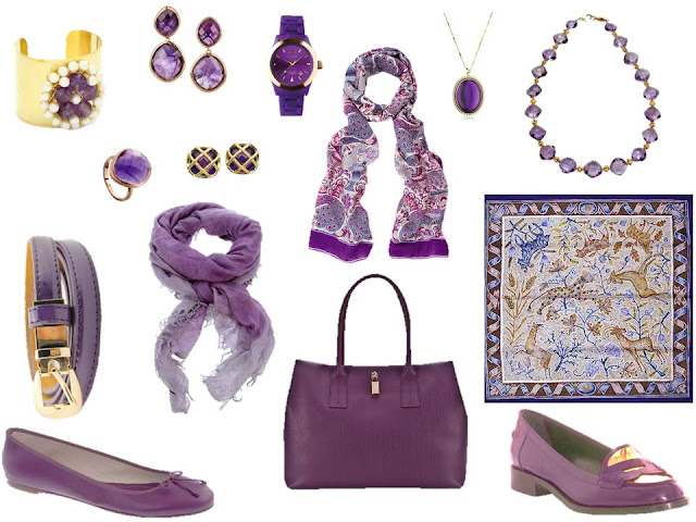 Purple accessories - shoes, belts, bags, scarves and jewelry - to wear with A Common Wardrobe.
