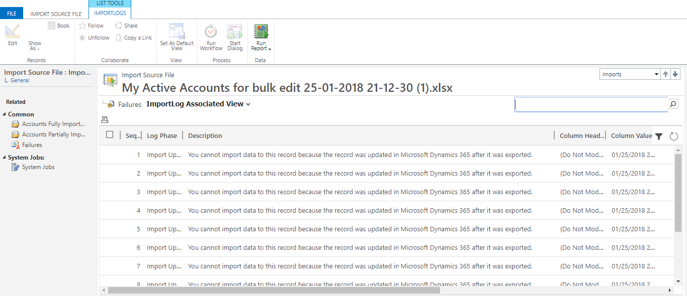 Microsoft dynamics crm 365 blog 2018 you cannot import data to this record because the record was updated in microsoft dynamics 365 after it was exported xflitez Images