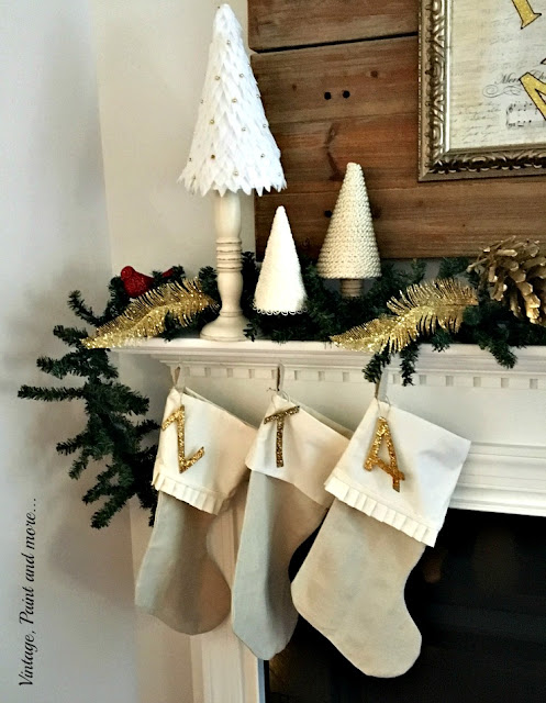 diy drop cloth stockings, diy little trees