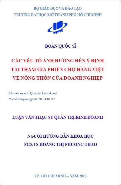 Các yếu tố ảnh hưởng đến ý định tái tham gia phiên chợ hàng Việt về nông thôn thôn của doanh nghiệp