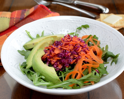 Light Red Cabbage & Carrot Slaw, another bright, healthy salad in a super-light dressing. ♥ A Veggie Venture. Weight Watchers Friendly. Low Carb. Low Fat. Vegan. Naturally Gluten Free. Winter Color!