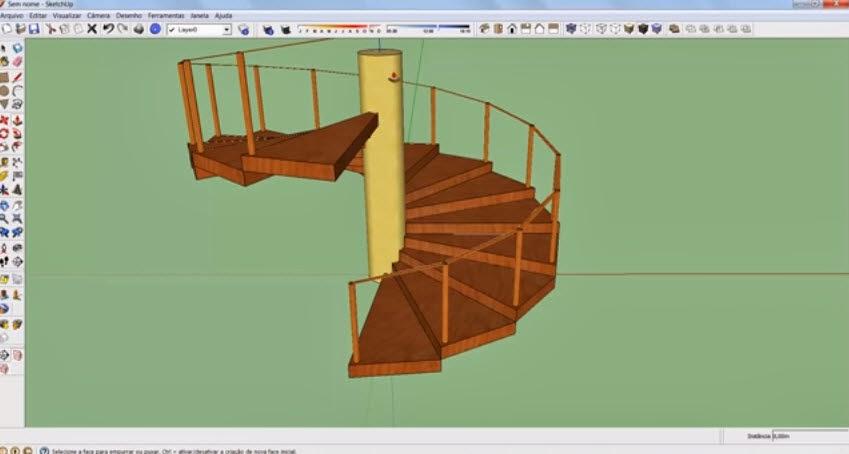 วิธีการเขียนแบบ3dบันไดวนเสาไม้กลมสำหรับบ้านไม้ด้วยโปรแกรมgoogle Sketchup Graphic Cad Draiwng