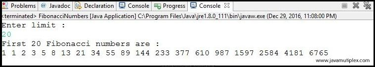 Output of Java program that generates first n Fibonacci terms.