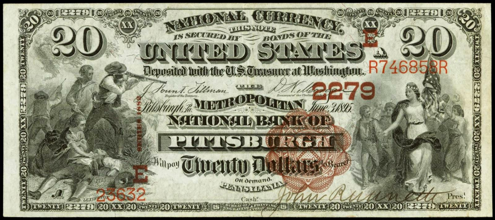 1882 20 Dollar Brown Back National Currency
