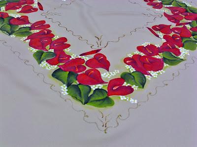 canto da toalha de mesa com pintura em tecido